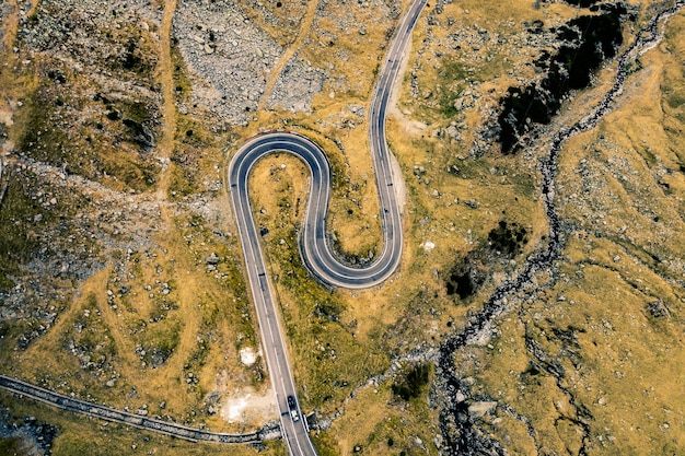 Top view of beautiful transfagarasan mountain road in romania