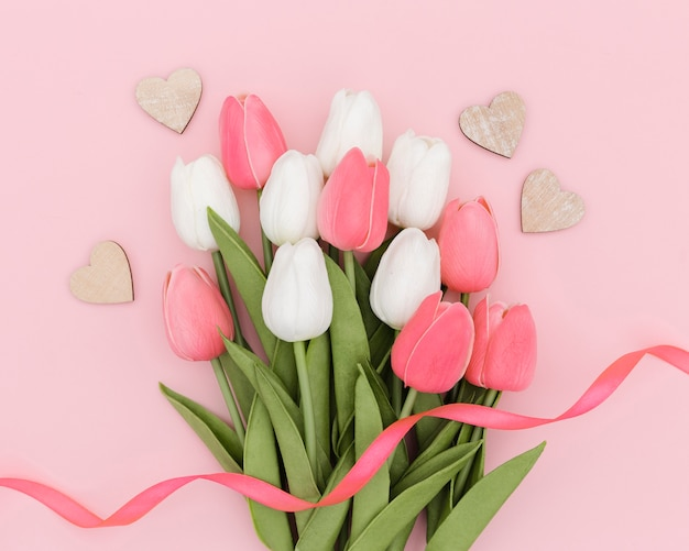 Top view of beautiful tulips bouquet