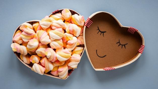 Vista dall'alto del bellissimo concetto di san valentino