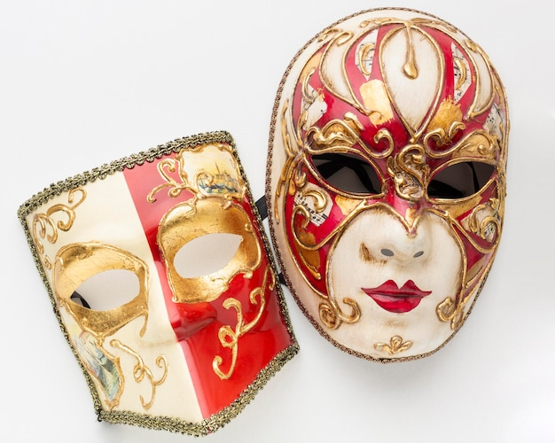 Top view beautiful venice masks