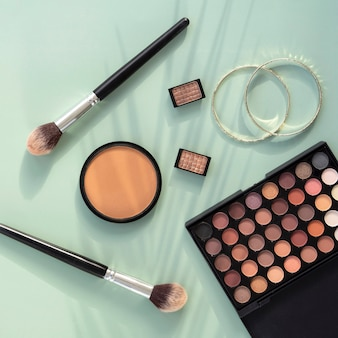 Top view beauty cosmetics products