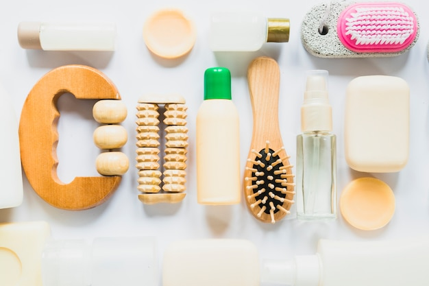 Top view beautycare concept