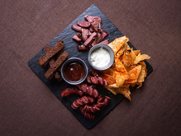 Top view of beer snacks for the company.