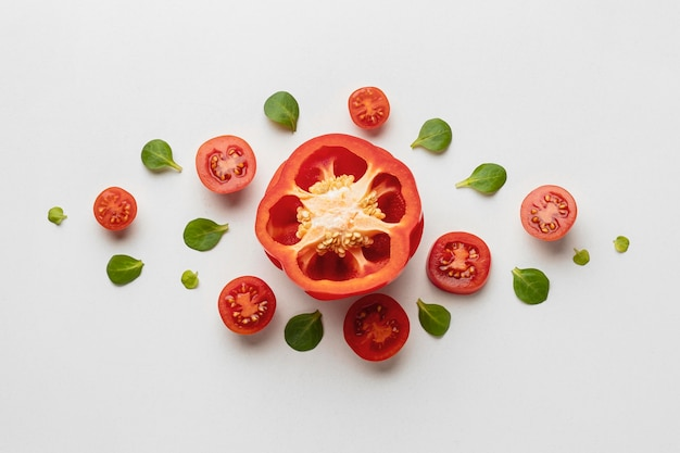Top view of bell pepper with tomatoes