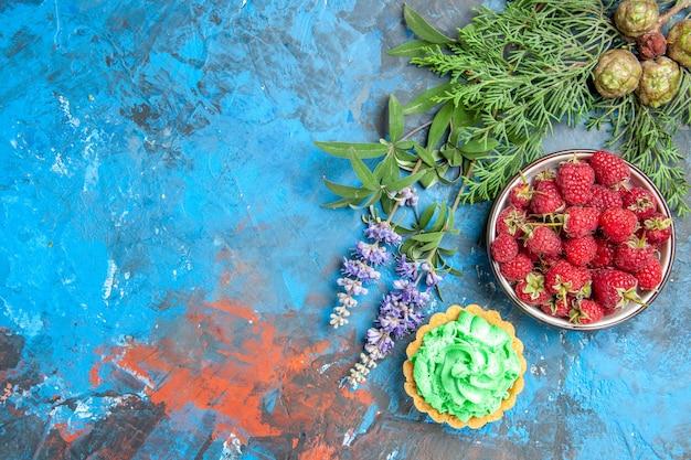 Vista dall'alto della ciotola di bacche, piccola torta e rami degli alberi sulla superficie blu