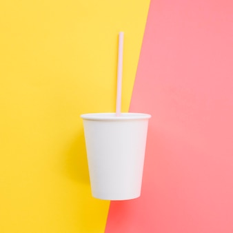 Top view beverage cup with straw