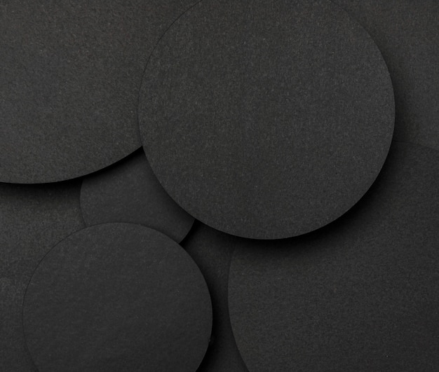 Top view big dots of black paper background top view