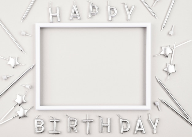 Top view birthday candles with white frame