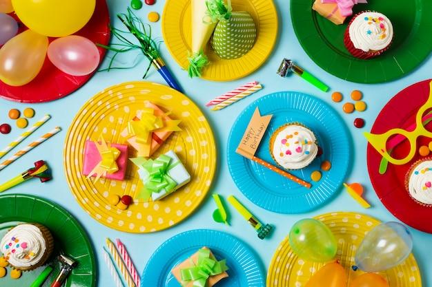Top view birthday concept arrangement