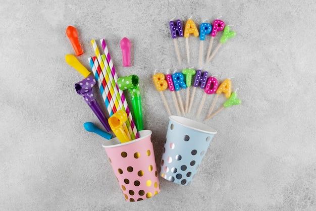 Top view birthday concept with items Premium Photo