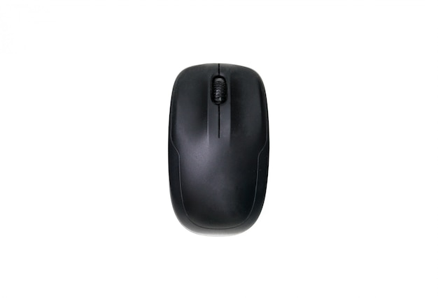 Top view of black computer mouse isolated on a white background.