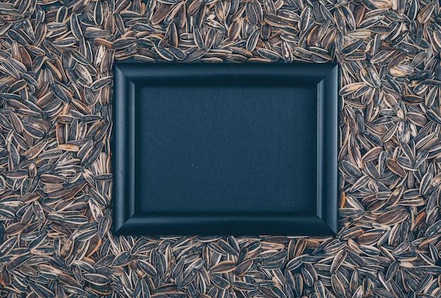 Top view black frame on black sunflower seeds background. horizontal free space for your text