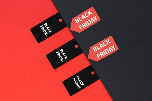 Top view black friday tags and stickers