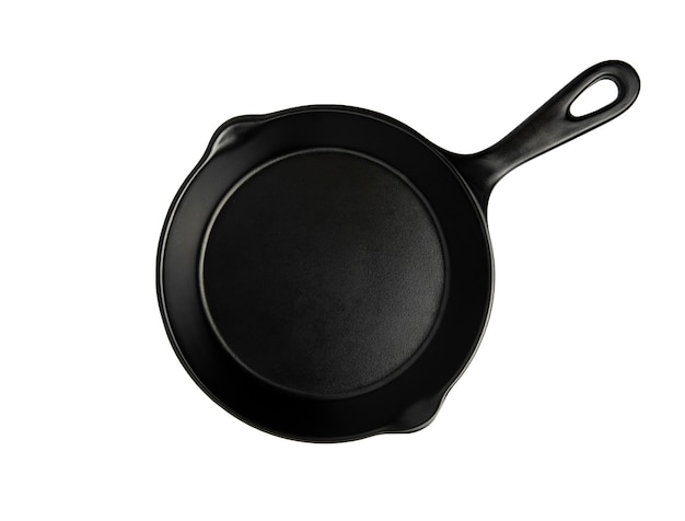 The top view of the black pan isolated on white with clipping path