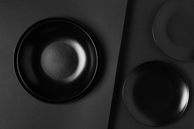 Top view black plates composition