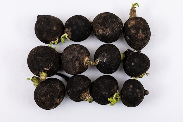 Top view of black radishes