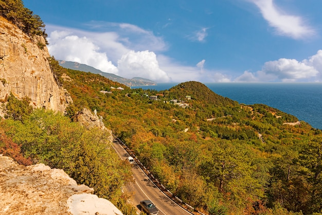 Top view of the black sea resorts in the crimea and the city of oreanda