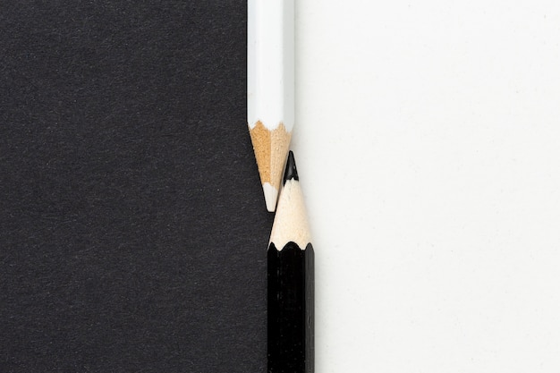 Top view of black and white pencils