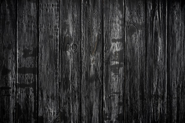Top view of black wood texture background, wooden table blank for design.