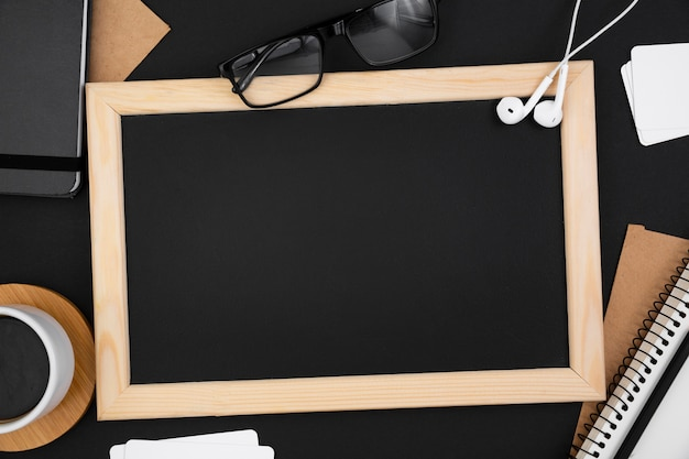 Top view of blackboard with copy space