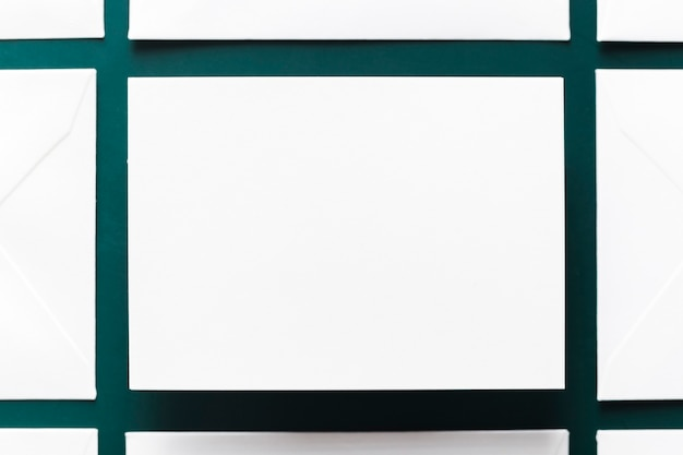 Top view blank business card concept