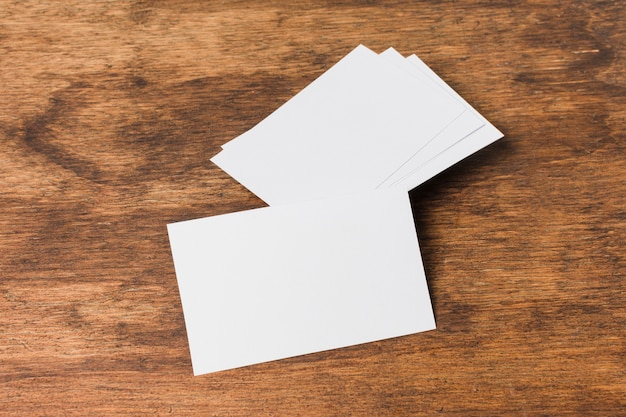 Top view blank business card