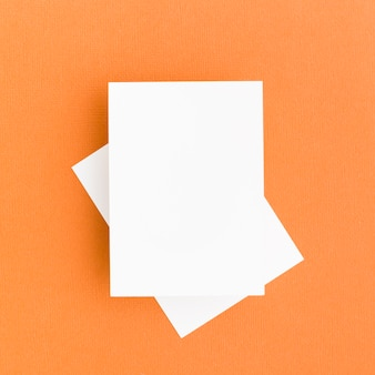 Top view blank business cards concept