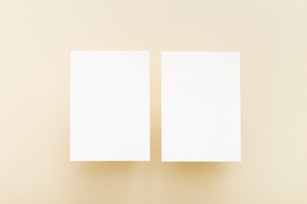 Top view blank business cards