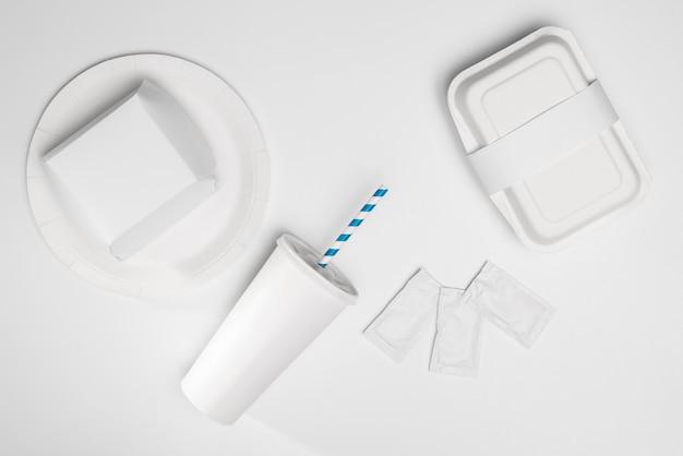 Вид сверху пустой упаковки для быстрого питания