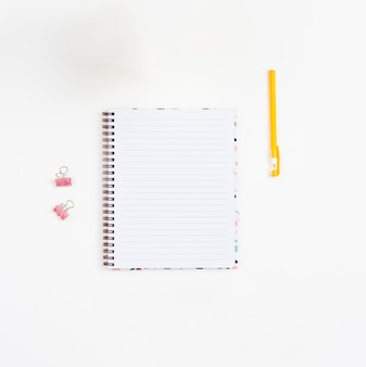 Top view blank notebook with white background