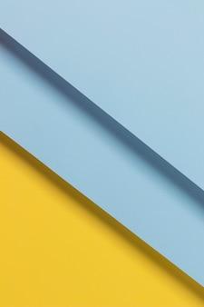 トップビューの青と黄色の食器棚