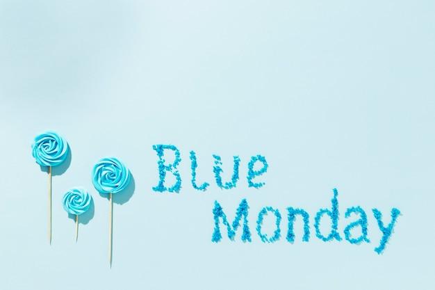 上面図青い月曜日のレタリング構成