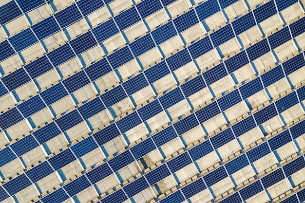 Top view of blue solar panels