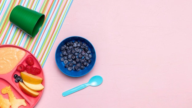 Top view of blueberries and baby food with copy space