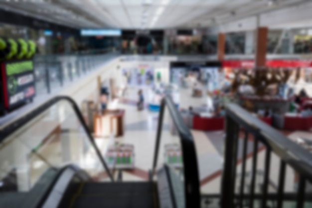 Top view blurred shopping mall