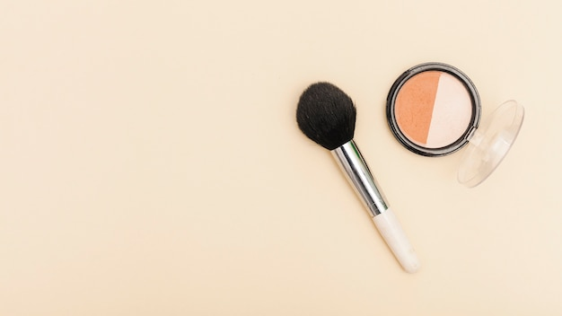 Top view blush with make up brush