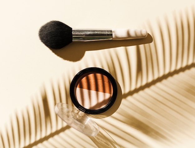 Top view blush with palm branch shadow