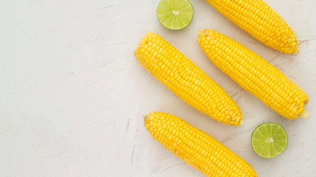 Top view boiled corn with copy space