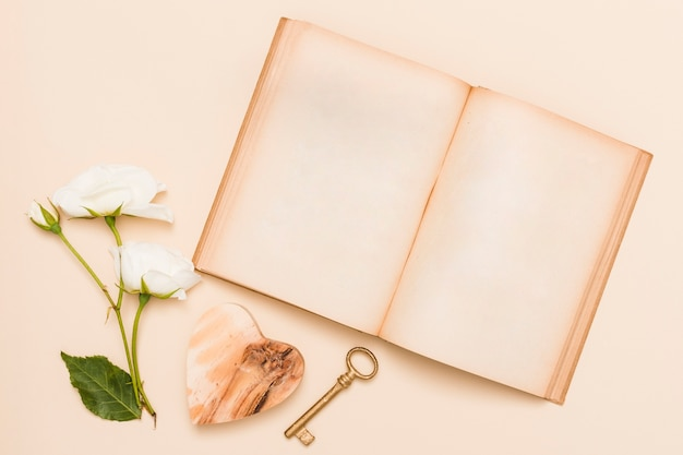 Top view of book and flowers