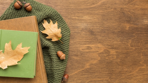 Top view of books with autumn leaves and copy space