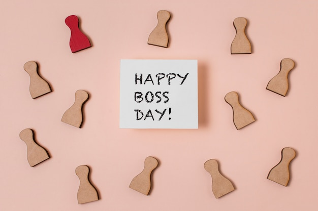 Top view boss's day arrangement with pawns