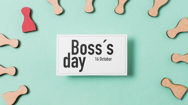 Top view boss's day assortment on light blue background
