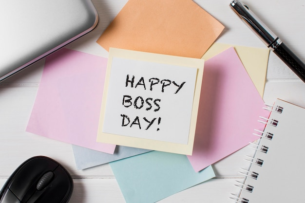 Top view boss's day assortment with sticky notes