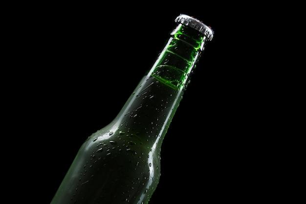 Top view bottle of beer