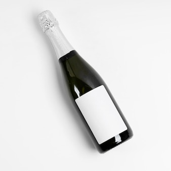 Top view bottle on white background