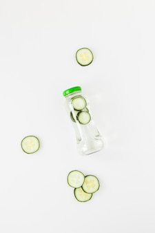 Top view bottle with cucumberg smoothie