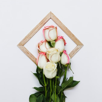 Top view bouquet of roses