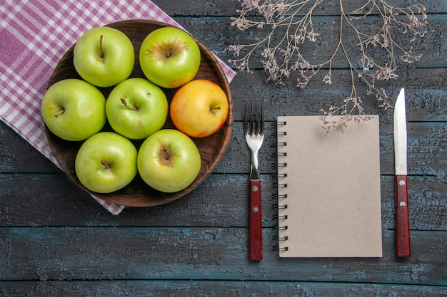Top view bowl of apples bowl of seven green-yellow apples on checkered tablecloth next to branches fork knife and grey notebook