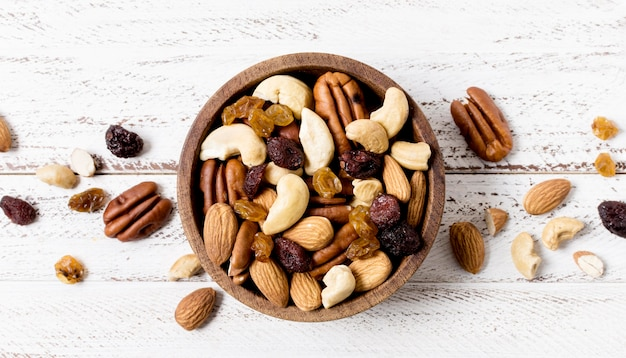 Top view of bowl with assortment of nuts