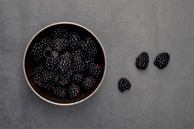 Top view of bowl with blackberries